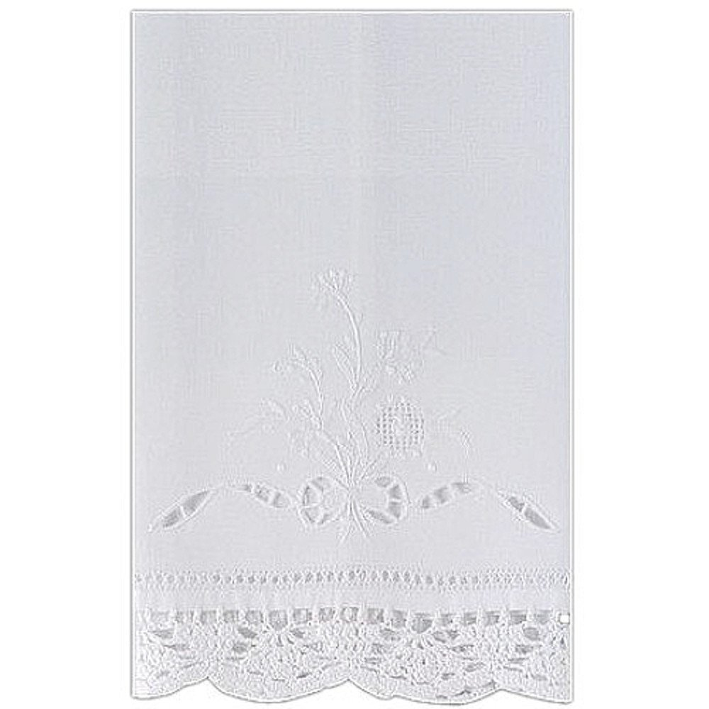Linen Guest Bath Tea Hand Towel White with Floral Embroidery Crochet and Bow Pattern Cutwork 14 X 22 Inch