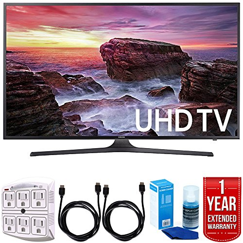 Samsung UN40MU6290 6-Series 39.9'' LED 4K UHD Smart TV w/ Warranty Bundle includes TV, 1 Year Extended Warranty, 6ft High Speed HDMI Cable x 2, Universal Screen Cleaner, and 6-Outlet Surge Adapter by Samsung