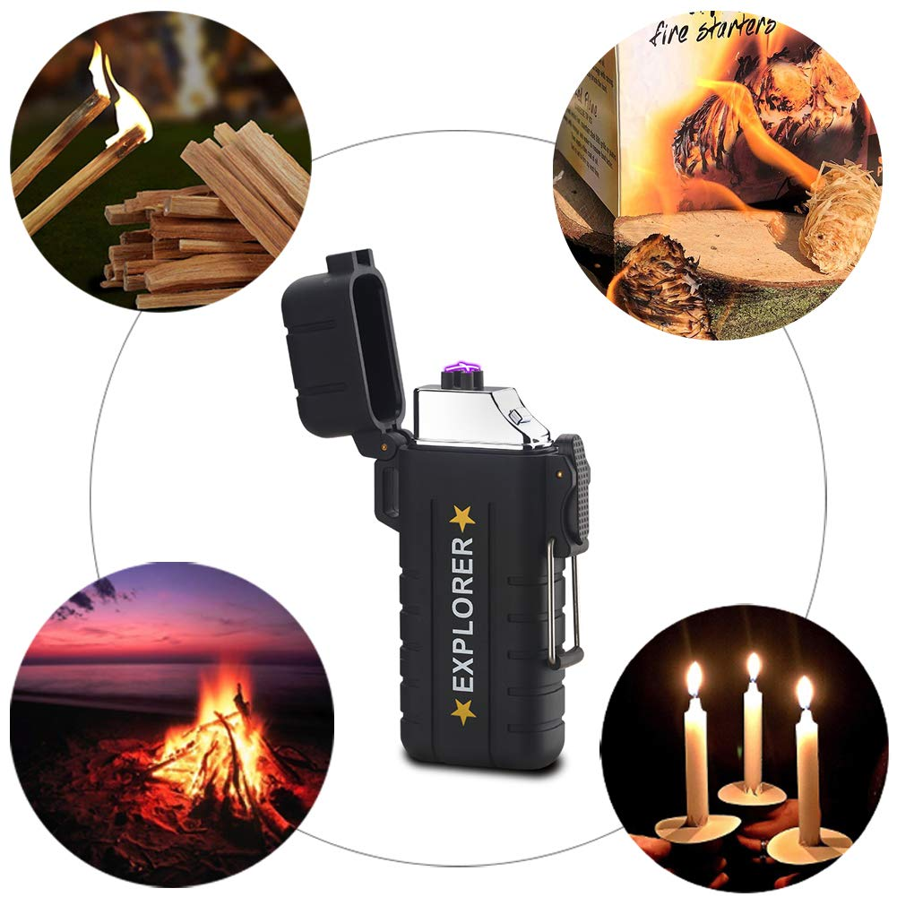 Dechi Waterproof Arc Lighter,Plasma Dua Arc Lighter USB Rechargeable Electric Lighters Flameless Windproof Lighter with Lanyard for Hiking,Backpacking,Camping,Hunting,Tactical Survival Gear