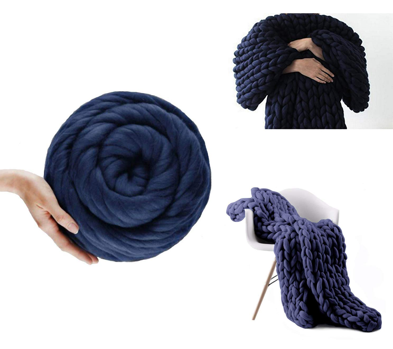 Yijiujiuer Soft Merino Chunky Wool Roving Yarn for Hand Made Arm Knitted DIY Bulky Sofa Bed Pet Throw Blankets (Navy - 6.6 lbs)