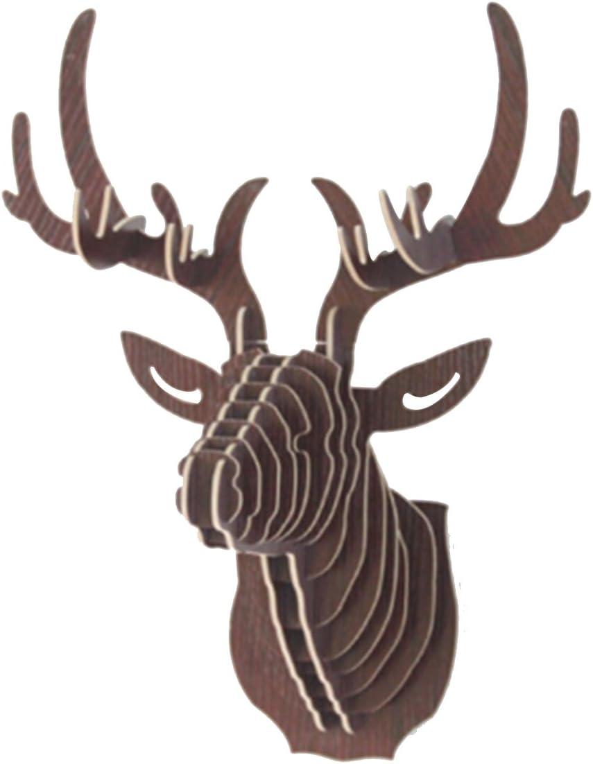 Mochiglory 3D Wooden Puzzle Model Elk Deer Head Wall Decor Animal Sculpture Ornament Wall Art Decor 6 Colors