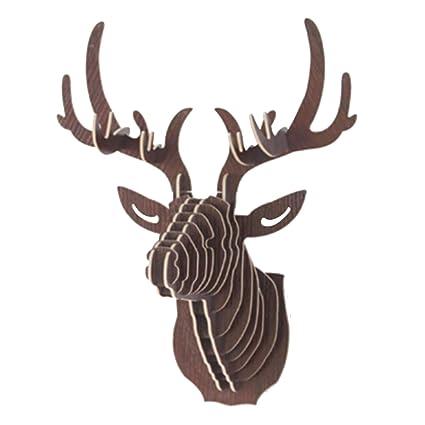 Cadillaps Madera Ciervo Animales Pared Ganchos Wande (Perchero Perchero Ganchos Llave 6 Color, Madera, Madera, 29.5 * 21 * 37cm