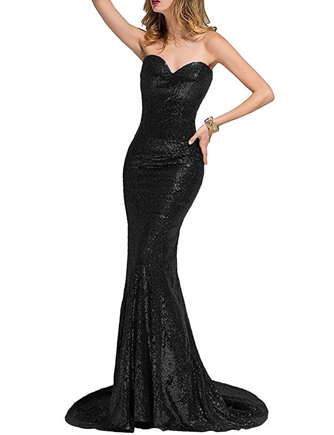 OYISHA Women\'s Scoop Neck Long Sequins Mermaid Evening Dress Formal ...