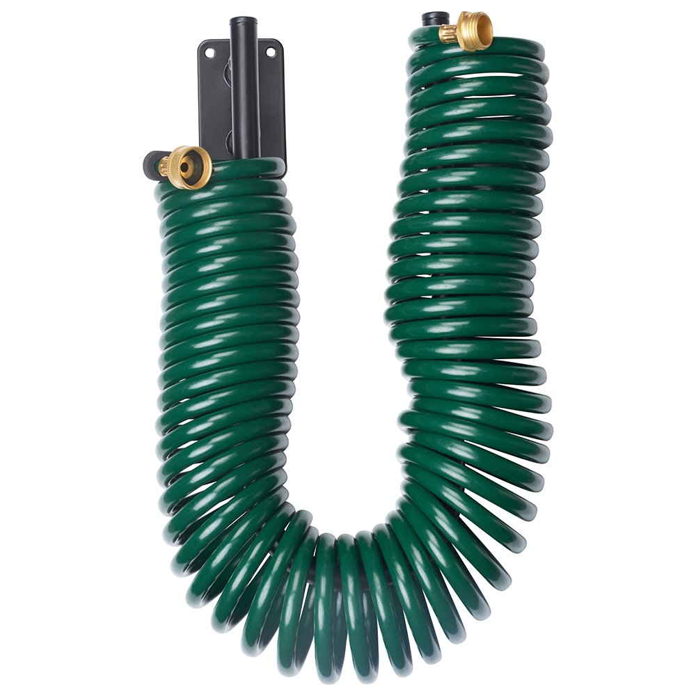 Melnor Garden Coil Hose with All Brass Connectors and Storage Rack; Extends up to 50 Feet