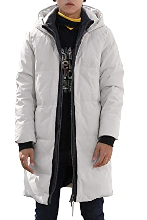 4d3607238 Men's Hooded Long Down Jacket Coats Quilted Padded Thickened Puffer Coats  Outwear with Hood Collar Winter