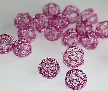 60 Stk Drahtkugeln pink rosa 1,8cm Hochzeit Tischdeko Dekoration ...