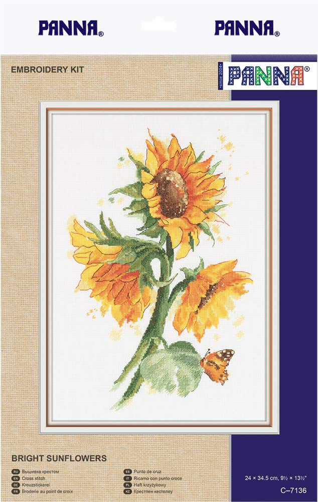 """Counted 9.4/"""" x 13.4/"""" or 24 x 34.5cm Bright Sunflowers Flowers Cross Stitch Kits for Beginners and Adults Panna Embroidery Kit DIY Cross Stich Kit Fun Needlework Pattern"""