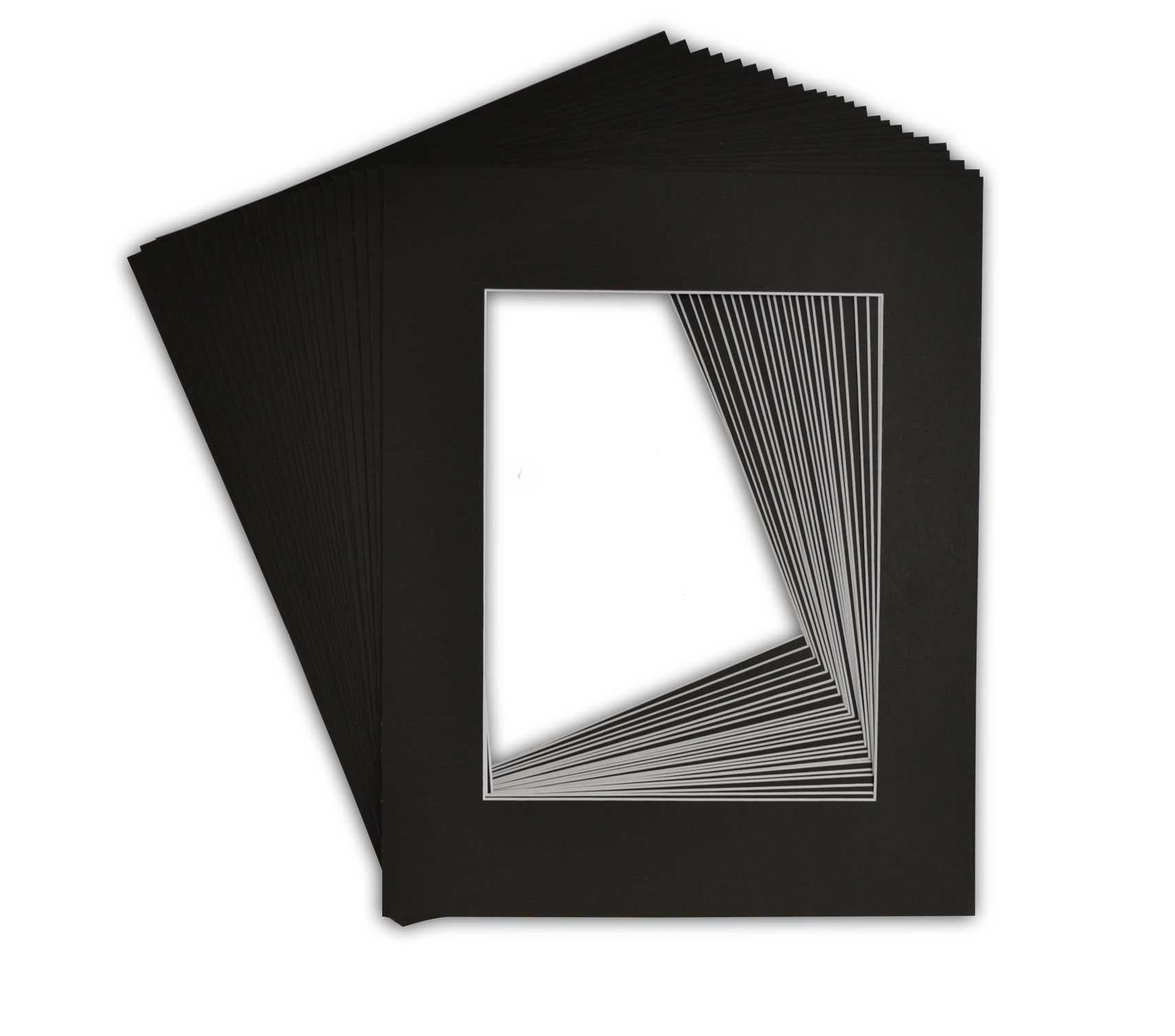 Golden State Art, Pack of 25 Black Pre-Cut 16x20 Picture Mat for 11x14 Photo with White Core Bevel Cut Mattes Sets. Includes 25 High Premier Acid Free Mats & 25 Backing Board & 25 Clear Bags by Golden State Art (Image #2)