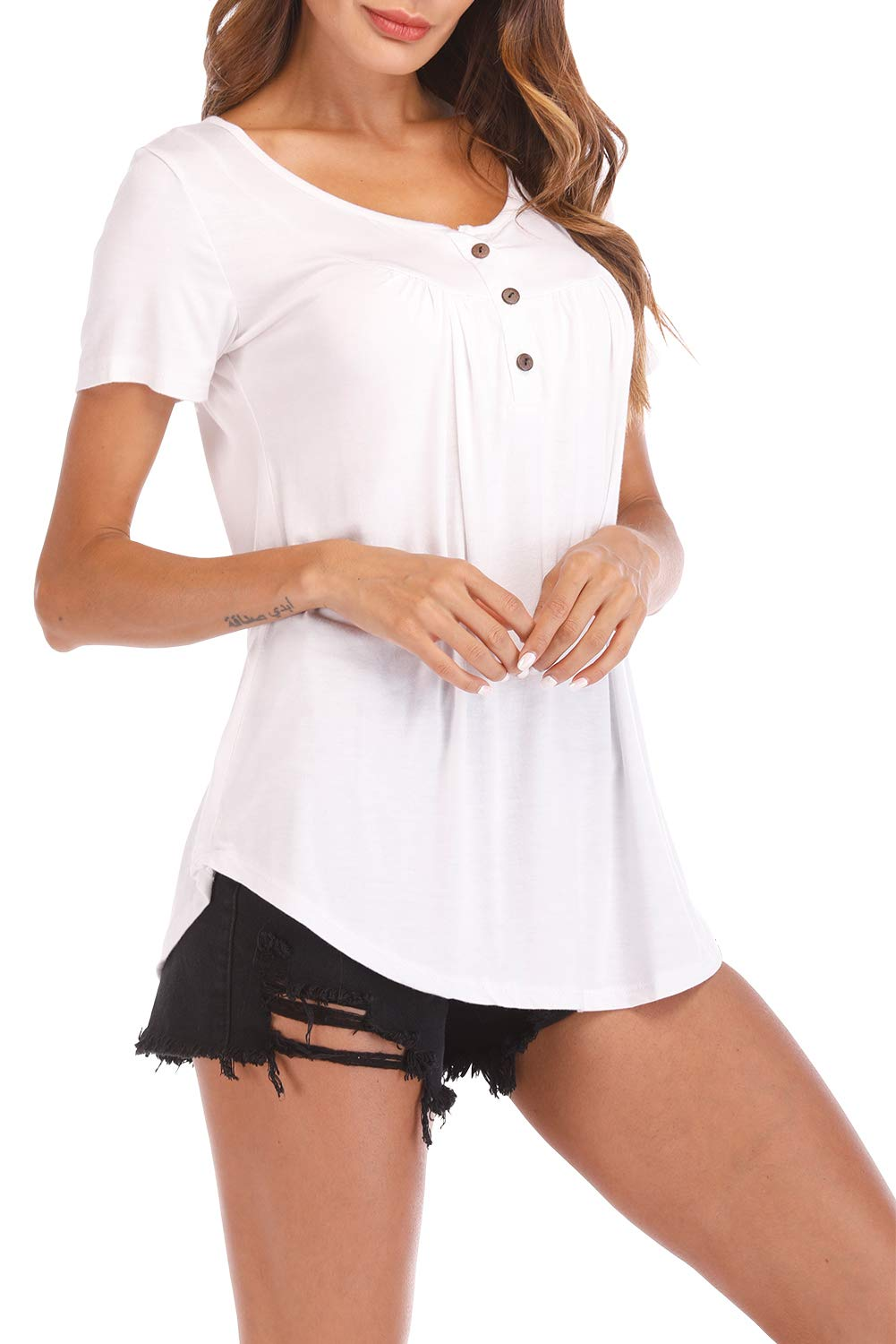 Fantastic Zone Womens Tops and Blouses Short Sleeve Tunics Plus Size Summer Shirts White XXL by Fantastic Zone (Image #3)