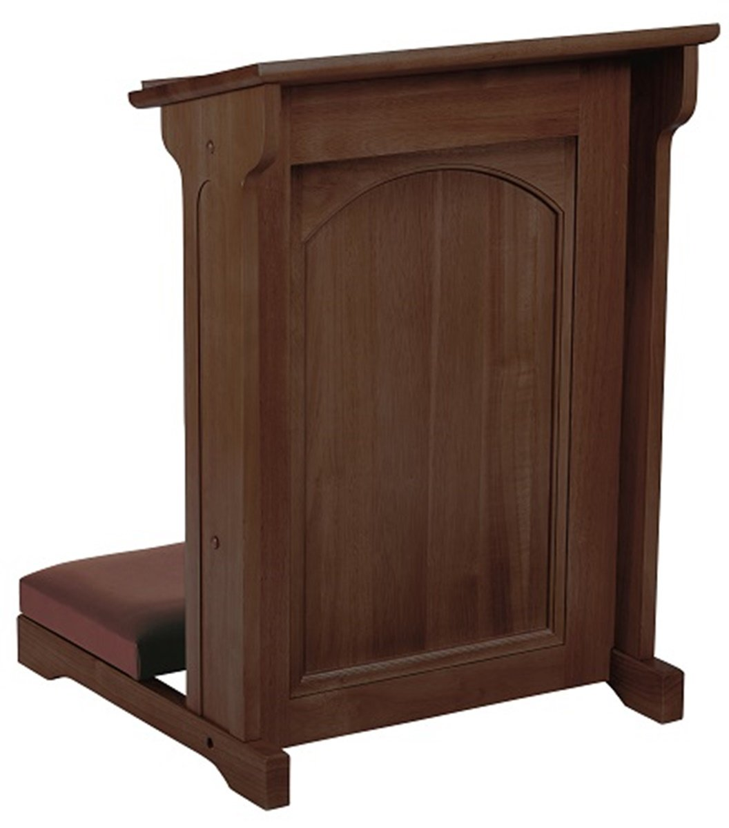 Eastern Maple Hardwood Padded Church Kneeler in Walnut Stain Finish, 24 Inch