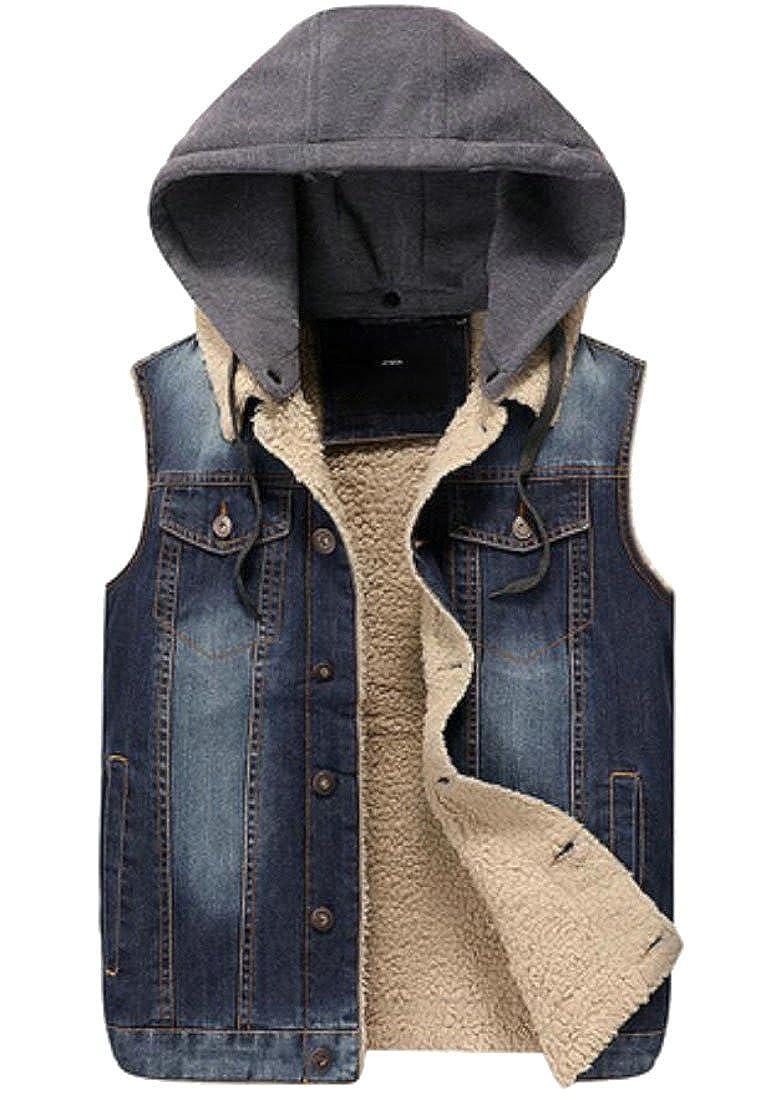 Domple Men's Casual Sleeveless Buttons Hooded Fleece Lined Denim Vest Jackets