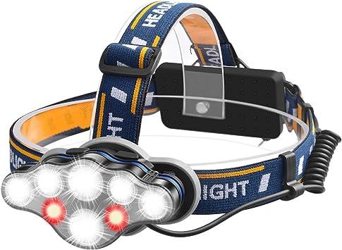 Myguru - Linterna frontal recargable con luz LED para bicicleta ...