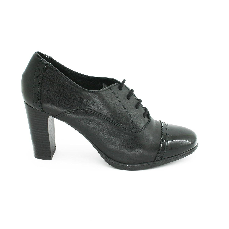 Zapato Mujer Piel Negro Tacón Alto Tipo Oxford Inglés - Botín Señora Cordones Punta - Elegante Cómo Calidad 36 EU