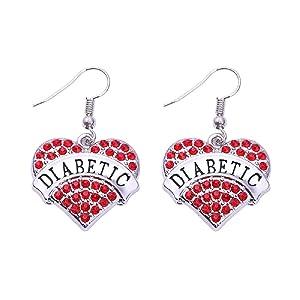 Diabetes Diabetic Type 1 2 Rhinestone Heart Earrings Medical Alert - Various Colors (Red)
