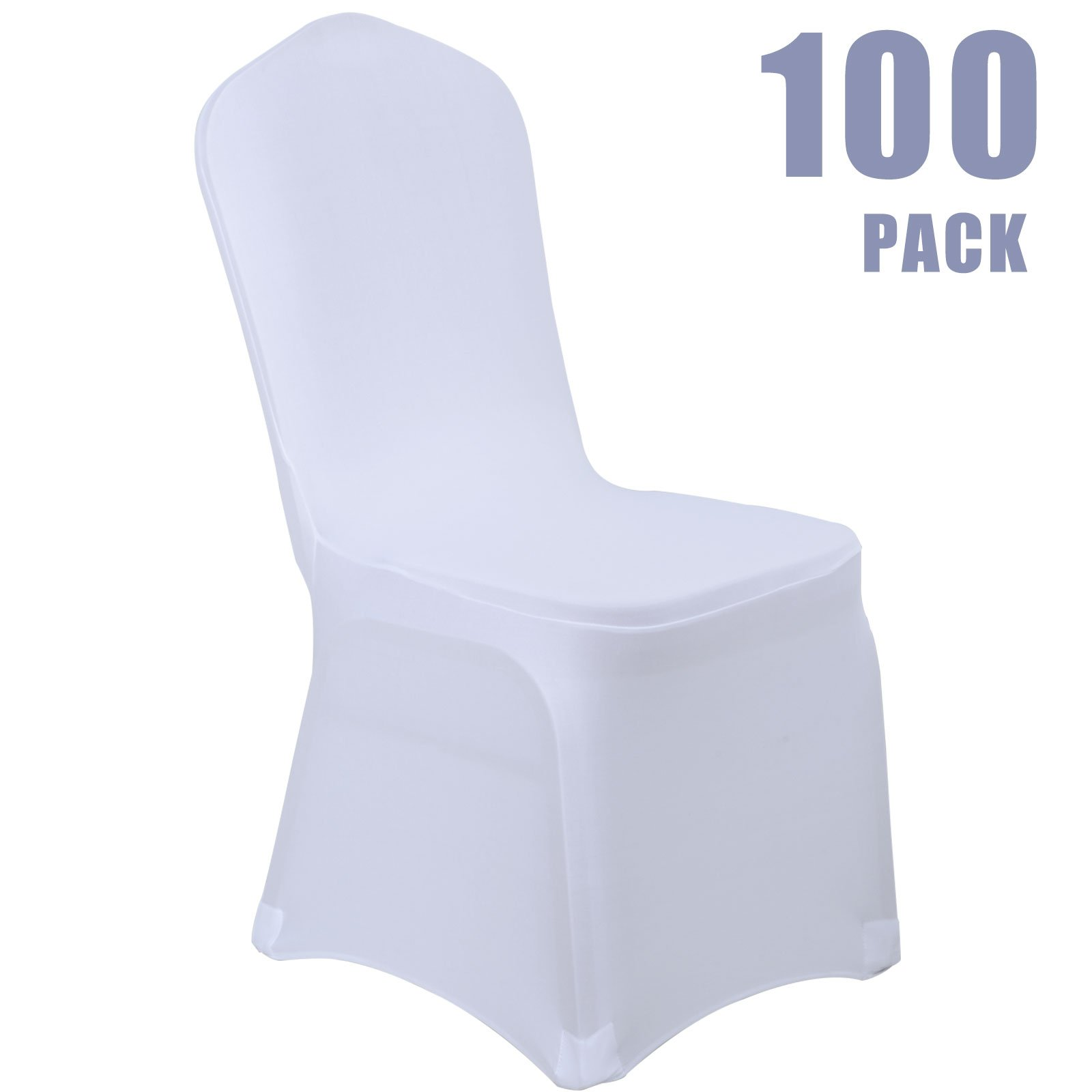 Voilamart Wedding Chair Covers Set of 100pcs Stretchable Polyester Spandex Chair Slipcover for Dinning Banquet Party Ceremony - White by Voilamart