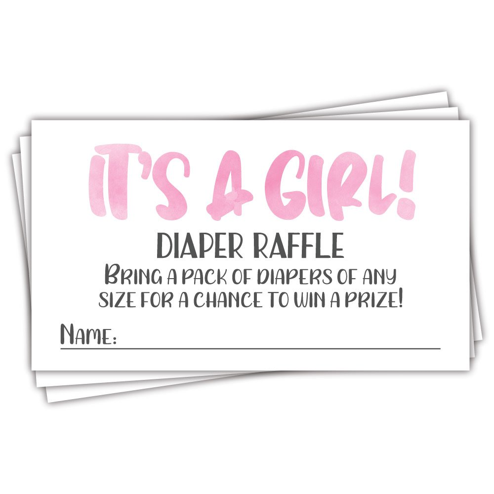 50 Pink Watercolor It's A Girl Diaper Raffle Tickets - Girl Baby Shower Game