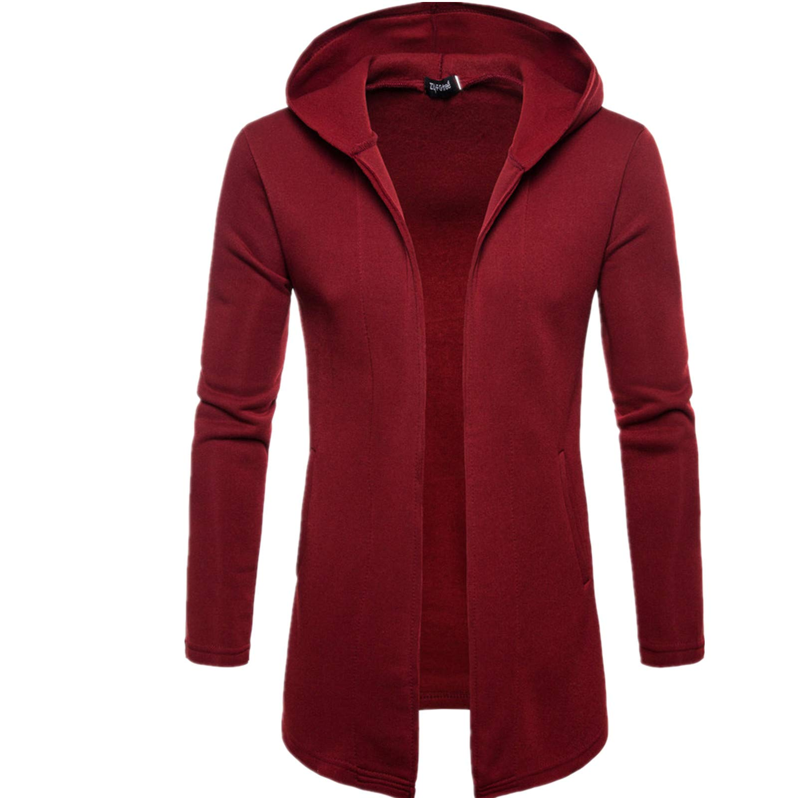 PASATO Mens Classic Hooded Solid Trench Coat Jacket Cardigan Long Sleeve Fashion Outwear Blouse Clothes Featured(Wine Red, XL)