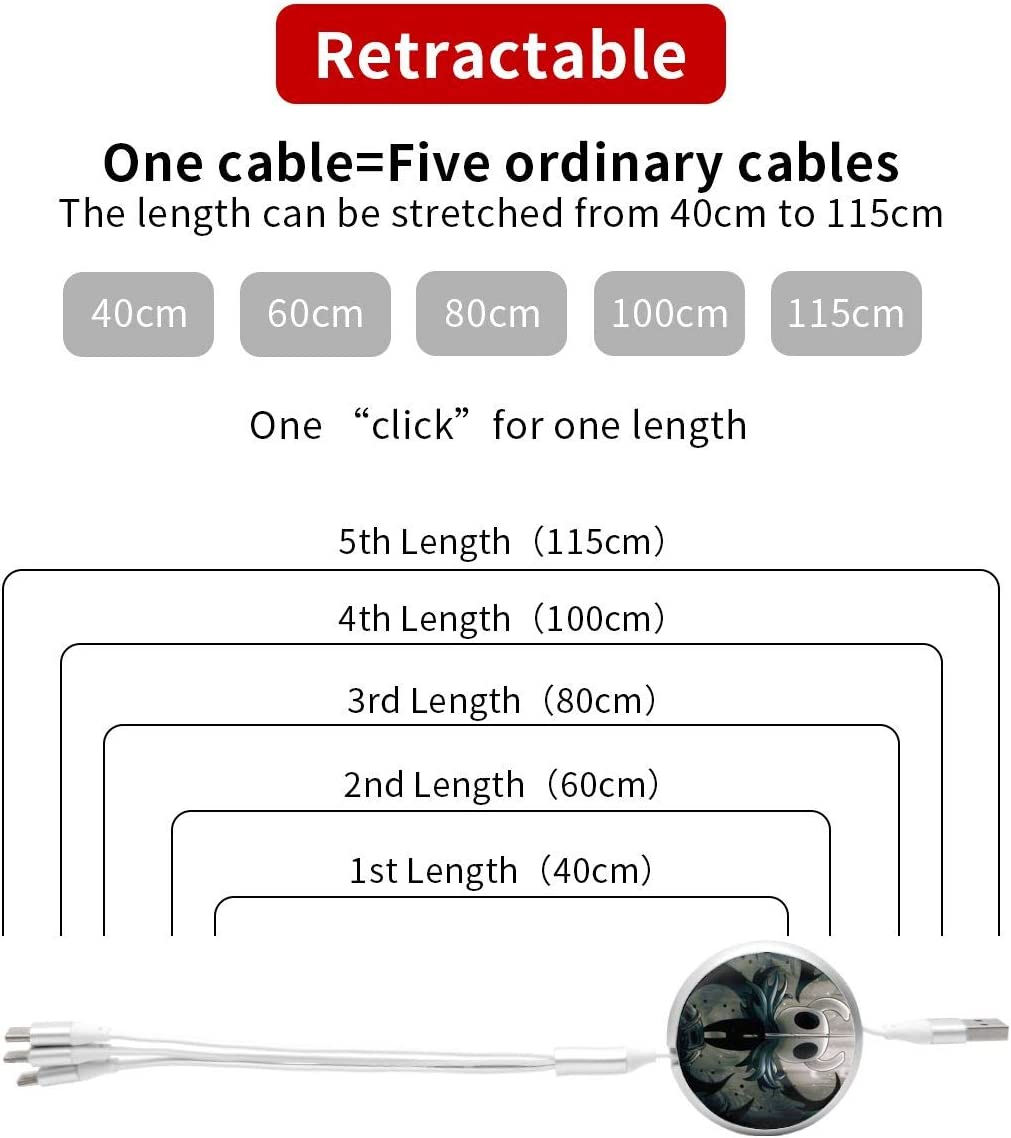 Hollow Knight USB Cable Three-in-One Round Charger Telescopic Data Multifunction Cable