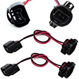 iJDMTOY (2) 5202 H16 Extension Wire Harness Sockets Compatible With Headlights, Fog Lights Retrofit Work Use