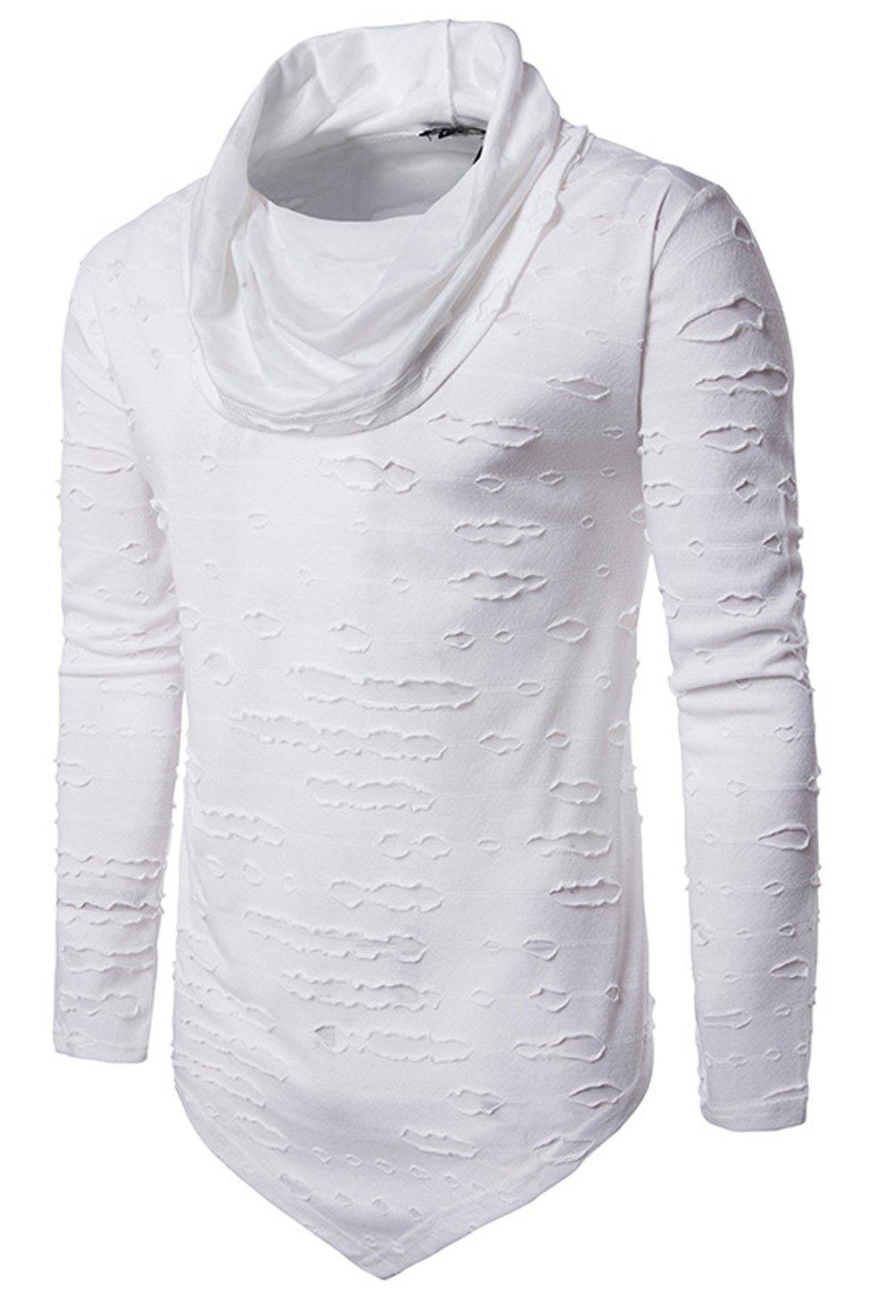Hotmiss Men's Pure Colour Hipster Hiphop Holes Design Hem Heaps Collar Long Sleeve T-Shirt (White, Large)
