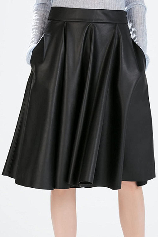 ACHICGIRL Classic Pu Leather Pleated High Waist Skirt