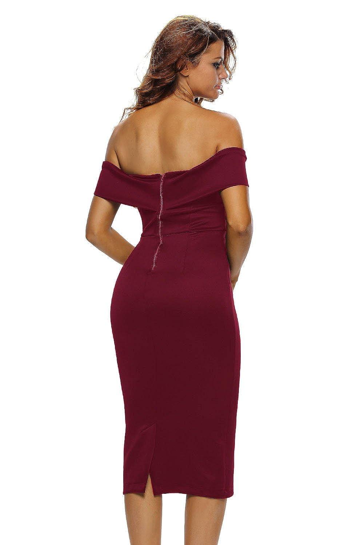 Z-one Damen Sexy V-Ausschnitt Aus Der Schulter Abend Bodycon Club Midi Kleid:  Amazon.de: Bekleidung