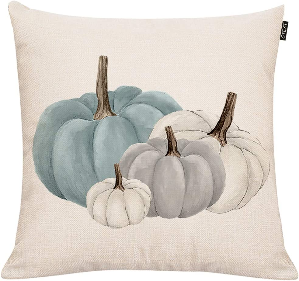 GTEXT Fall Pumpkins Throw Pillow Cover Autumn Decor Drawing White Pumpkin Pillow Case for Couch Sofa Home Decoration Fall Pillows Linen 18 X 18 Inches