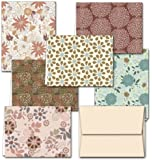 Floral Frenzy - 36 Note Cards - 6 Designs - Blank Cards - Off-White Ivory Envelopes Included
