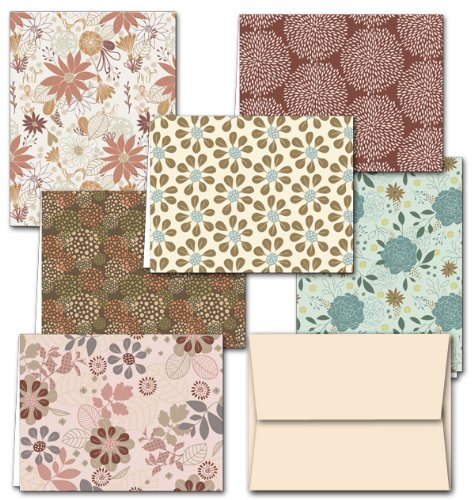 (Floral Frenzy - 36 Note Cards - 6 Designs - Blank Cards - Off-White Ivory Envelopes Included)