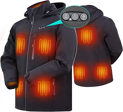 Heated Jacket for Women ARRIS Electric Heating Warm Coat 7.4V Battery//8 Heating Areas//Phone Charging for Winter Use