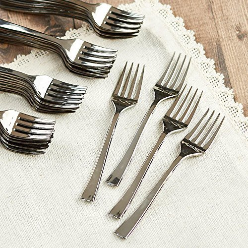 Silver Plastic Forks - Mini Plastic Forks - (120 Ct) - Better Than Toothpicks - Disposable Forks Mini - Hors (Hors Doeuvres Spoons)