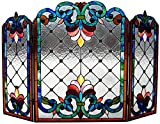 Chloe Lighting Tiffany-Glass 3pcs Folding Victorian Fireplace Screen Wide, 44''
