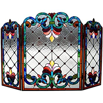 stained glass fireplace screen Amazon.com: Chloe Lighting Tiffany Glass 3pcs Folding Victorian  stained glass fireplace screen