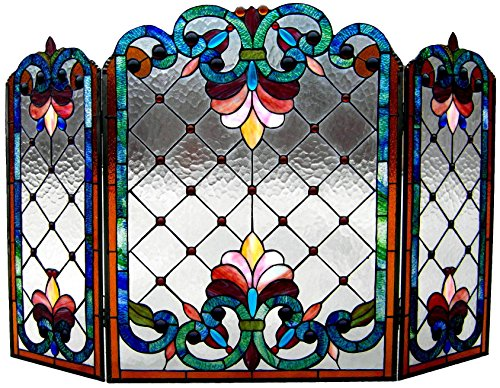 Chloe Lighting Tiffany-Glass 3pcs Folding Victorian Fireplace Screen Wide, 44'' by Chloe Lighting