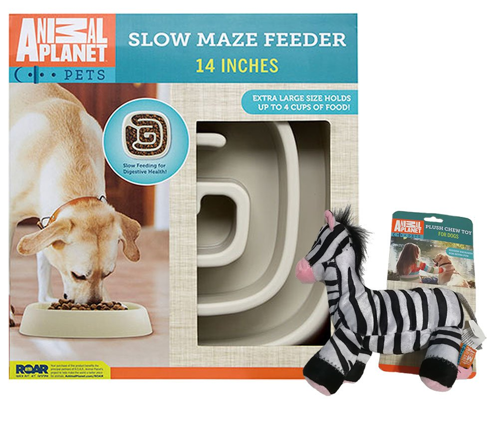 Animal Planet Large Slow Feed Dog Bowl | Interactive Bloat stop Bowl | Promotes Digestive Health | Suitable for Big Dogs | Non skid design - with Zebra Plush Chew Toy Bundle by DiyerClub (Image #1)