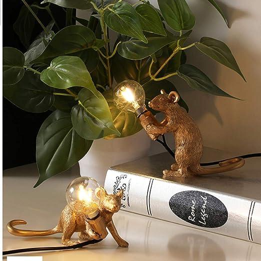 Nordic Art Lámpara De Escritorio Gold Mouse Rat Luces De ...