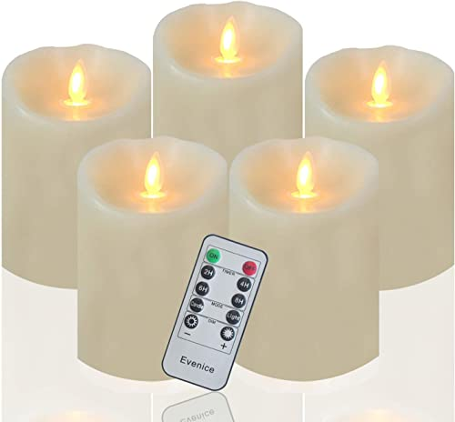 Evenice Flameless Candles Flickering Light Pillar Candles Real Smooth Wax for Gifts and Decoration 5 Pack Ivory 3 x 4