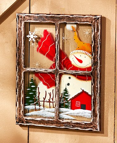 Painted Holiday Window Panes (Snowman Square)