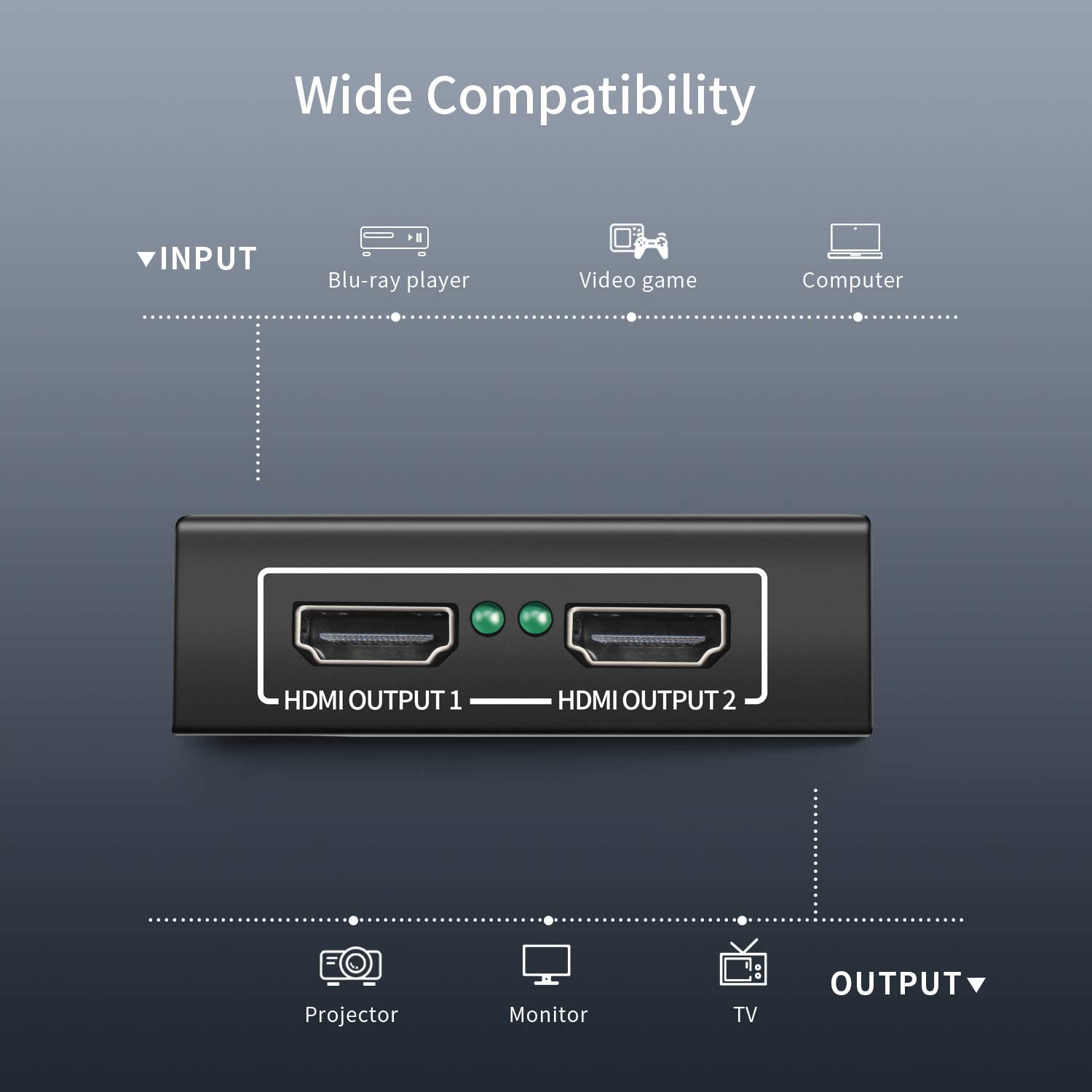 Enlody 1x2 HDMI Splitter 1 in 2 Out 4K 60Hz HDCP 2.2 Bypass 1 Input to 2 Outputs Support 18Gbps YUV 4:4:4 HDR10 3D for Duplicate// Mirror Dual Monitor