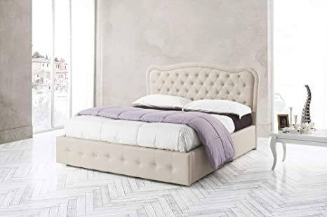 Letto In Ecopelle.Letto Matrimoniale In Ecopelle Beige Cm 185x205 Eh 120