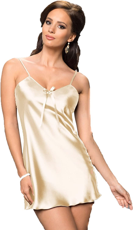 Ladies satin chemise slip nightdress nightwear ribbon shoulder strap size 12