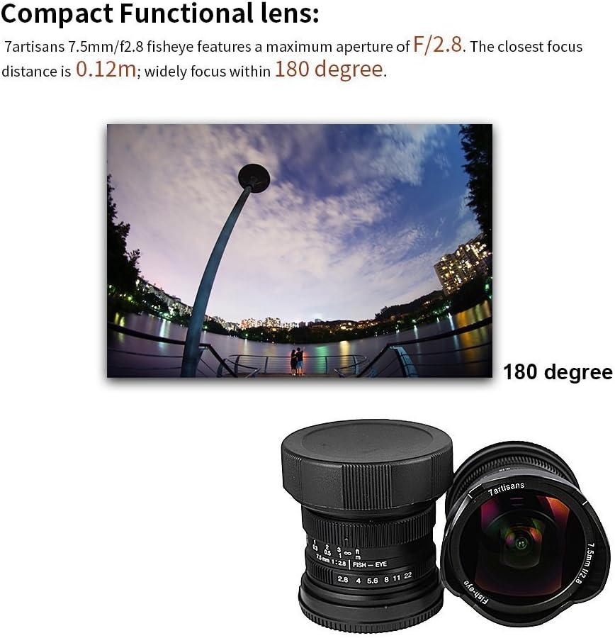 7artisans 7.5mm F//2.8 Fisheye Lens for M43 Micro 4//3 Cameras Panasonic GH2 GH3 GH4 Olympus E-M5 E-M10