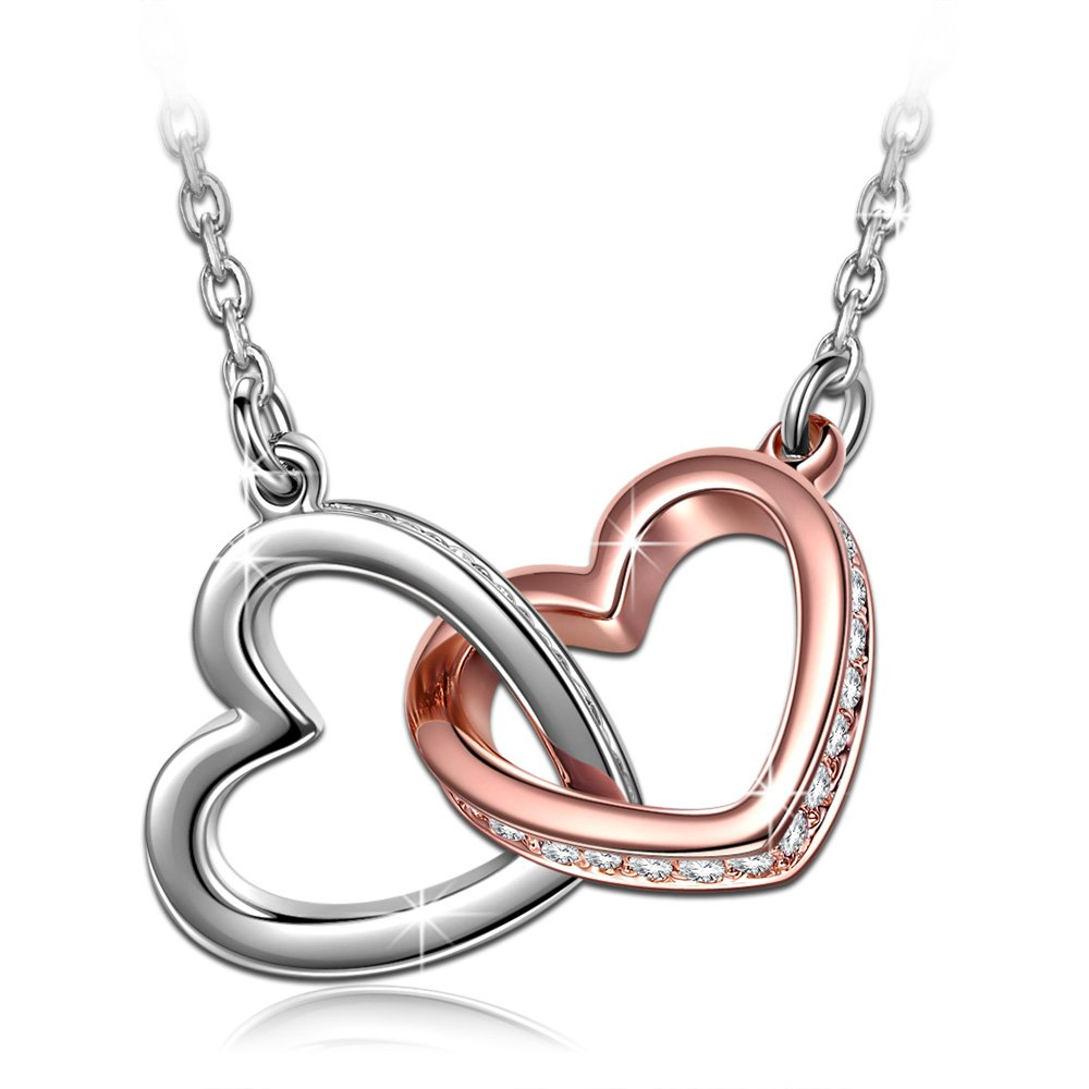 QIANSE Love Heart Necklaces for Women for Women Teen Girls Swarovski Crystal Jewelry Silver Necklace for Her Birthday Gifts for Mom Grandma Wife Girlfriend Daughter by QIANSE (Image #1)