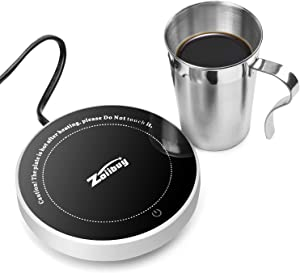Zoiibuy Gravity Coffee Mug Warmer with Stainless Steel Cup, Chauffe Tasse Tea Milk Electric Beverage Warmer Plate Cup Heater for Home Office, 8 hours Auto Shut Off, Gravity Sensor Switch, up to 131℉/ 55℃ (White+Cup)