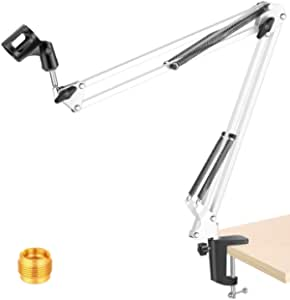 """NEEWER White Broadcasting Studio Microphone Suspension Boom Scissor Arm stand, Extended up to 80cm (31.5"""")"""