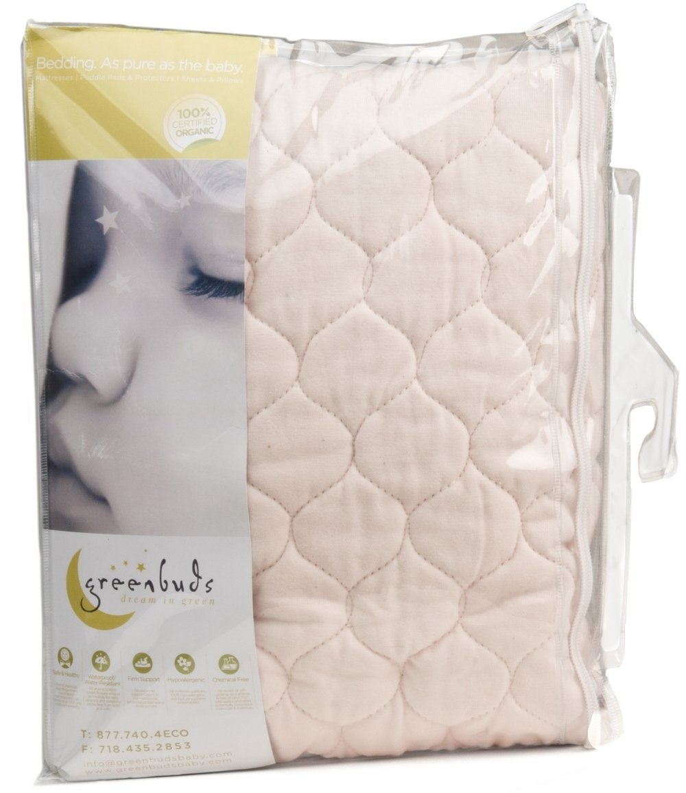 greenbuds organic cotton quilted crib mattress pad