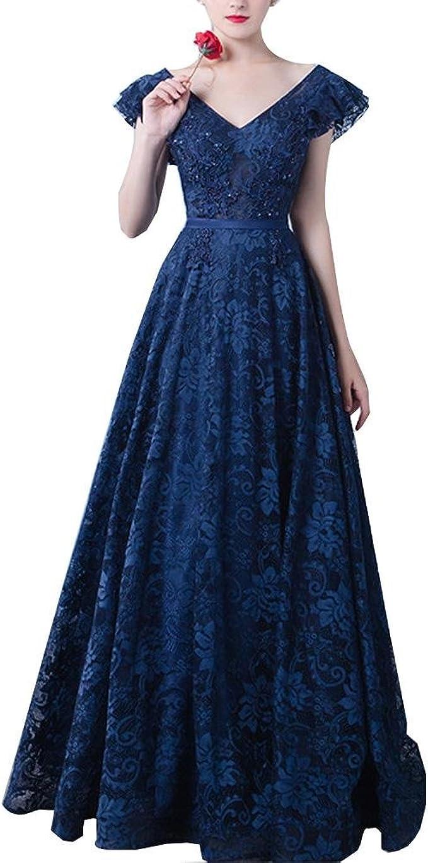 Wangmei Elegant Jahrgang V-Ausschnitt Schnüren Lange Abendkleider