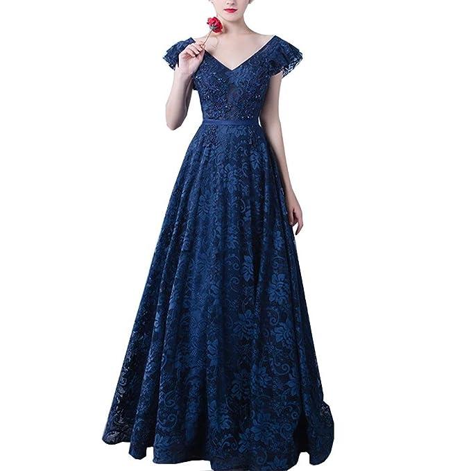 Wangmei Elegante Vendimia V-cuello Encaje Largo Vestidos de Noche Mujeres Sin Respaldo Vestido de