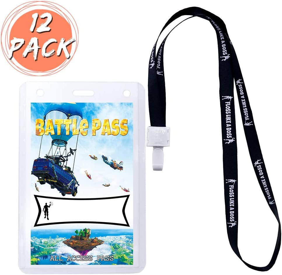 Video Game Party Supplies Battle Pass Holder Party Favors ID Lanyards with ID Holder Birthday Battle Royale Party Supplies for Kids Game Theme with cards 12 Pack