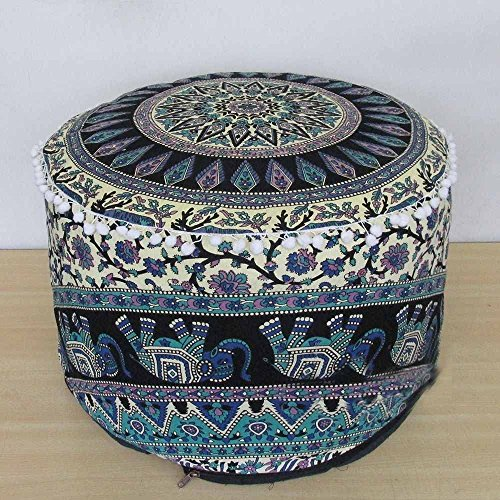 Handicraft-World Indian Beautiful Large Mandala Seating Furniture Round Floor Meditation Footstools Ottoman Poufs Cover Footstool ottoman 24'' By HW-08 by Handicraft-World